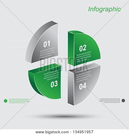 Info-graphic design templates in the form of a 3D circle. Idea to display, ranking and statistics.