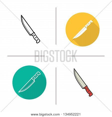 Chef's knife icon. Flat design, linear and color styles. Isolated vector illustrations