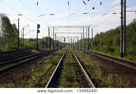 Railways and wires in one point perspective