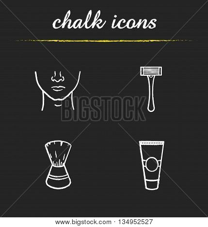 Shaving icons set. Shaving cream, man's face, razor and shaving brush illustrations. Barbershop accessories isolated vector chalkboard drawings