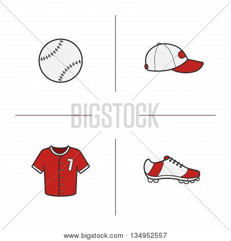 Baseball accessories color icons set. Softball player's cap, shirt and shoe, baseball ball. Vector isolated illustrations