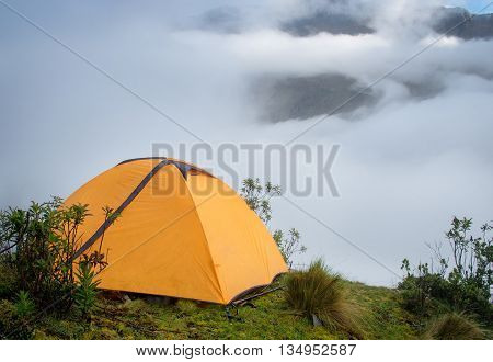 Tent in the mountains Andes. Salkantay Trekking Peru.