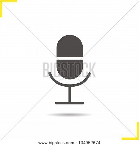 Microphone icon. Drop shadow silhouette symbol. Music studio equipment. Radio microphone. Vector isolated illustration