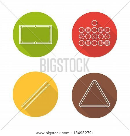 Billiard flat linear long shadow icons set. Billiard balls, table, cues and ball rack. Vector