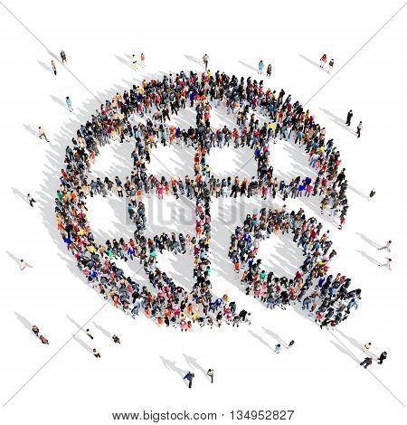 Large and creative group of people gathered together in the shape of a Earth . 3d illustration, isolated, white background.