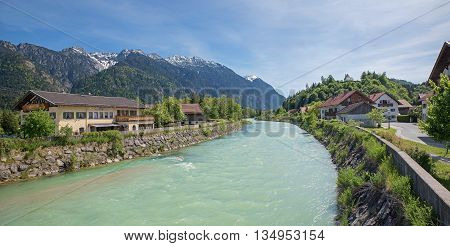 Beautiful Loisach River And Bavarian Alps