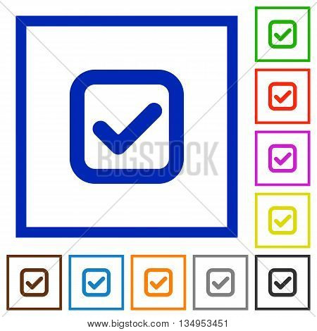 Set of color square framed checkbox flat icons