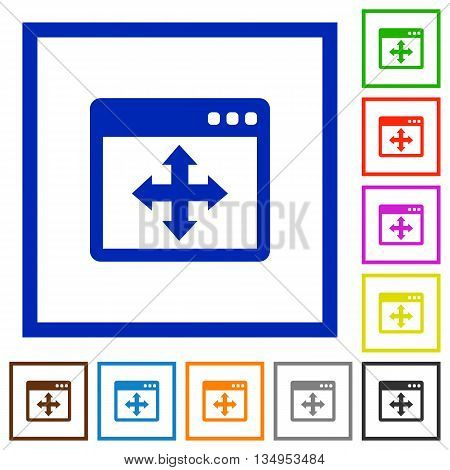 Set of color square framed move window flat icons