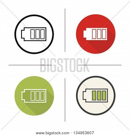 Battery icon. Flat design, linear and color styles. Smartphone battery charge indicator. Isolated vector illustrations