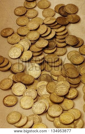 Coins of Nazi Germany collection still life.