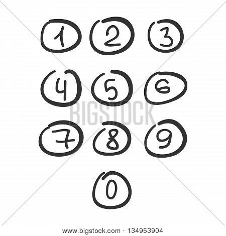 Scribble Circle Font Hand Drawn Numbers Black Isolated Vector