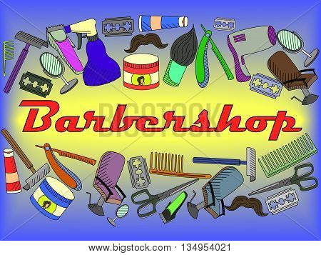 Vector line art Doodle set of cartoon characters and objects Barbershop. Hairdressing salon