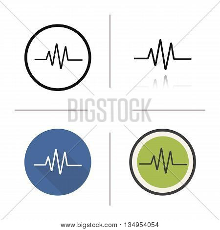 Cardiogram icon. Flat design, linear and color styles. Heart monitor. Ecg isolated vector illustrations