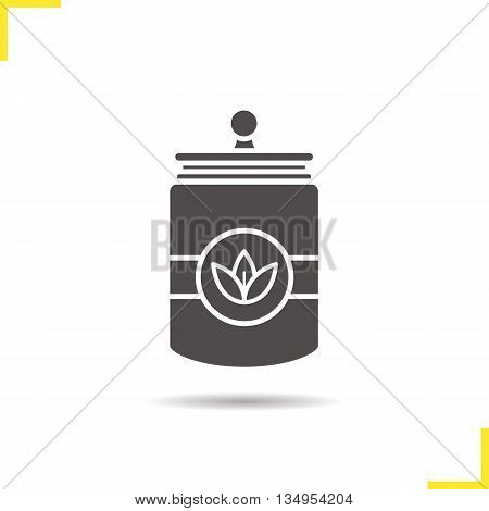 Tea jar icon. Drop shadow loose tea leaves silhouette symbol. Tea container. Vector isolated illustration
