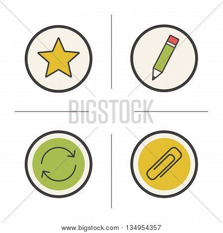 File manager color icons set. Star, pencil, arrows and paperclip. Favourite, edit, refresh and save symbols. Vector isolated illustrations