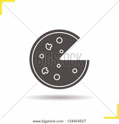 Pizza icon. Drop shadow Italian pizza silhouette symbol. Pizzeria. Vector isolated illustration