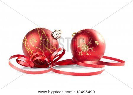 Bolas de Navidad en el fondo blanco