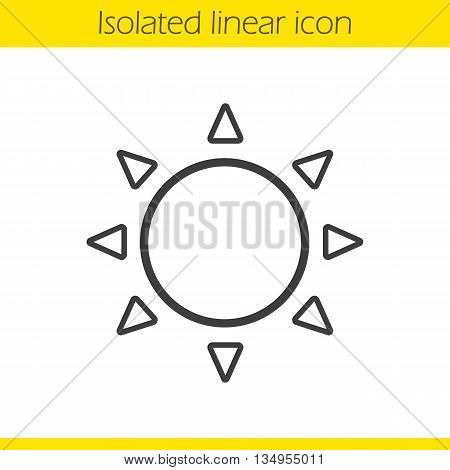 Sun linear icon. Summer weather forecast thin line illustration. Sunshine ontour symbol. Vector isolated outline drawing