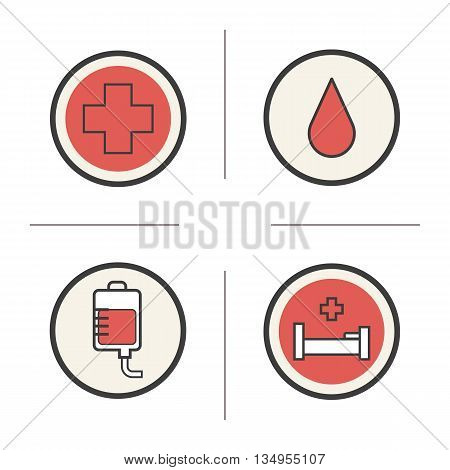 Blood donation color icons set. Blood drop, medical cross, hospital bed and blood bag. Vector isolated illustrations