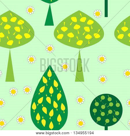 The seamless pattern with trees and daisies