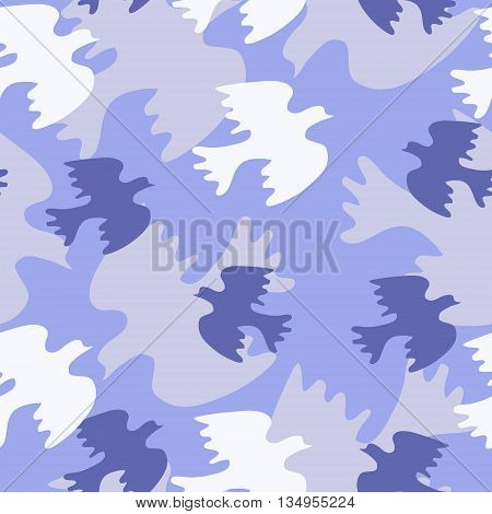 Seamless texture with blue bird on a blue background