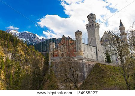 Neuschwanstein Castle With Mountains Background, Southern Bavaria, Germany