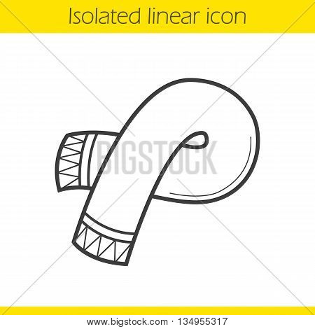 Scarf linear icon. Men and women seasonal accessory thin line illustration. Winter scarf contour symbol. Vector isolated outline drawing
