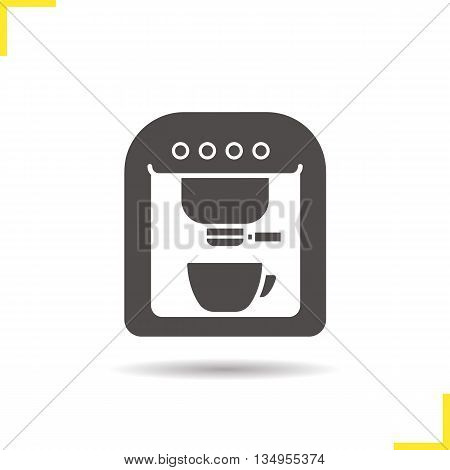 Coffee machine icon. Drop shadow silhouette symbol. Coffee maker vector isolated illustration