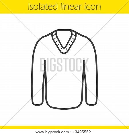 Pullover linear icon. Men's seasonal warm clothes thin line illustration. Sweater contour symbol. Vector isolated outline drawing