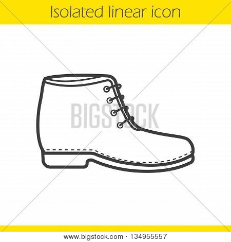 Boot linear icon. Male and female winter shoe. Fashion winter footwear thin line illustration. Shoe contour symbol. Vector isolated outline drawing
