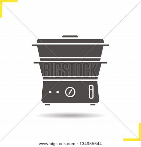 Steam cooker icon. Drop shadow silhouette symbol. Vector isolated illustration