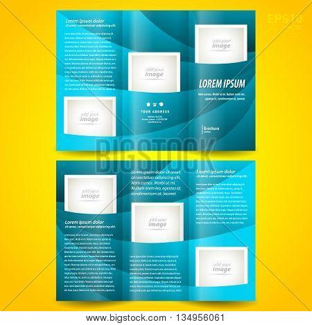 Business brochure design template waves tri-fold leaflet