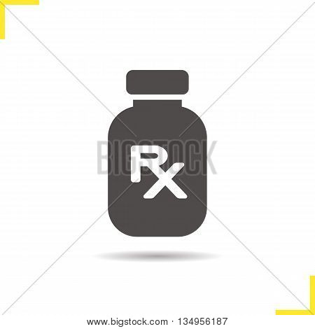 Drugs prescription icon. Drop shadow silhouette symbol. Medicine bottle vector isolated illustration
