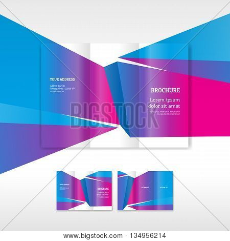 Business brochure design template polygonal colored low-poly