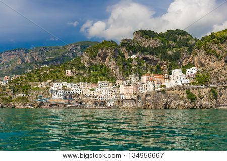 Beautiful Small Village Of Atrani, Amalfi Coast, Campania Region, Italy