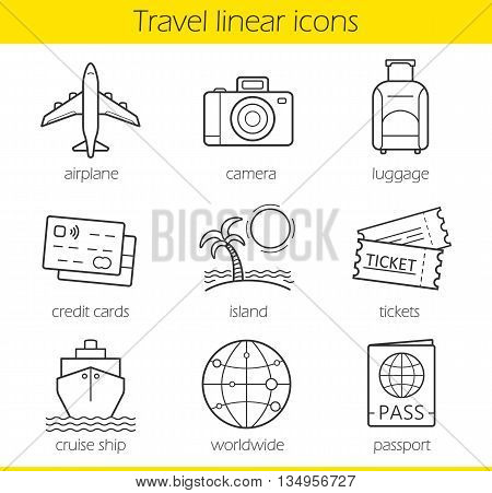 Travelling linear icons set. Airplane, camera, lugagge, credit cards, island, tickets, cruise ship, worldwide and passport symbols. Thin line. Isolated vector illustrations