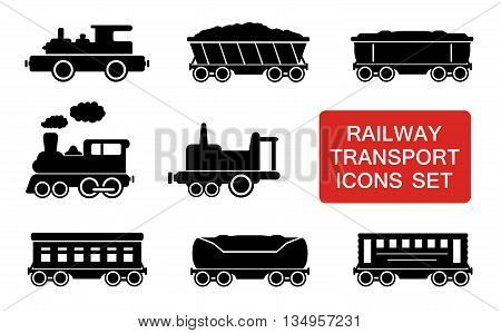 set of railway transport icons with red signboard