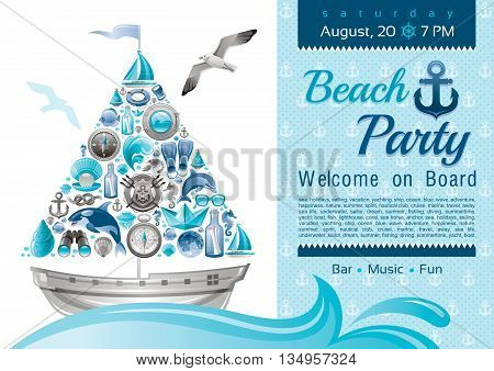 Sea summer travel banner invitation design for beach party with sail boat and icon set. Yachting coat of arms, compass rose, binoculars