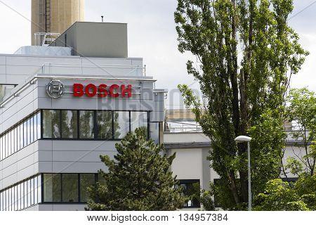 Prague, Czech Republic - June 18: Bosch Logo On The Building Of New Czech Headquarters On June 18, 2