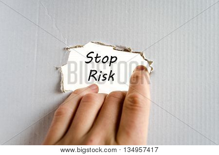 Stop risk text concept isolated over white background
