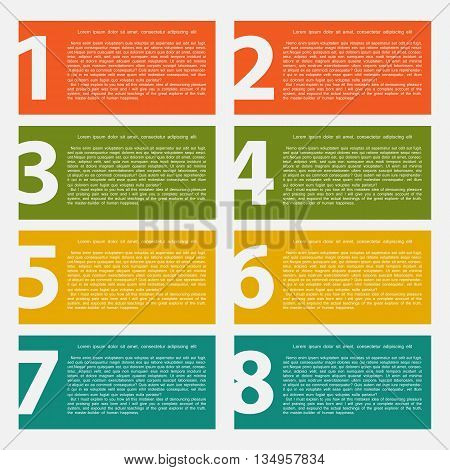 Eight colorful text box with steps for info graphics presentations stages web design poster banner on a white background.