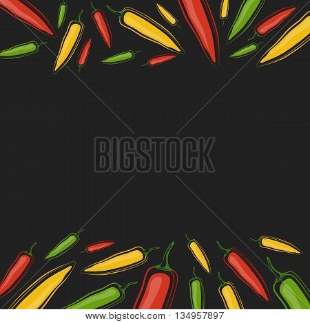 Vector background with jalapenos on a black background. Space for text