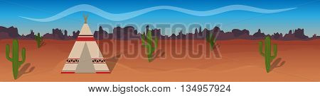 Horizontal vector banner with desert tepee cactus silhouetted mountains. Wild west. Cartoon illustration. Panorama.
