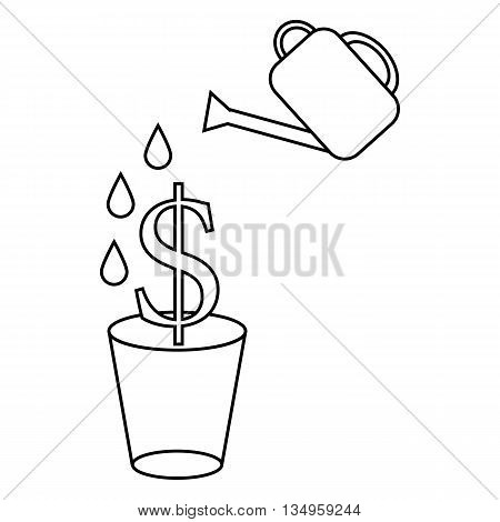 Dollar plant in the pot and watering can icon in outline style on a white background