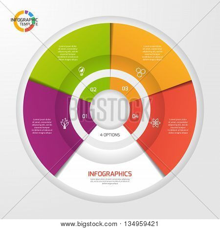 Vector circle infographic template for graphs charts diagrams. Pie chart concept with 4 options parts steps processes.