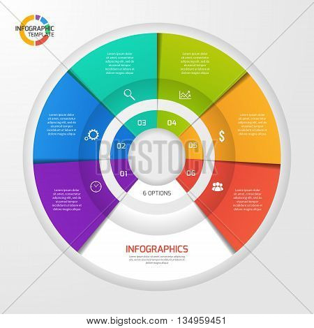 Vector circle infographic template for graphs charts diagrams. Pie chart concept with 6 options parts steps processes.