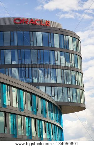 Prague, Czech Republic - June 18: Oracle Corporation Logo On The Building Of Czech Headquarters On J