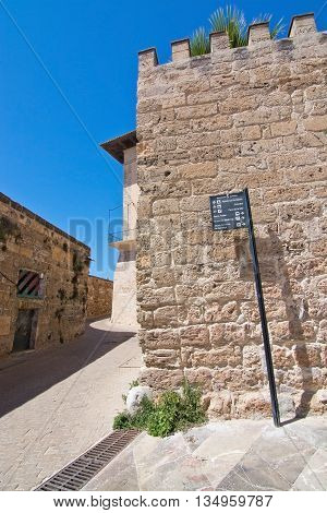 Medieval Wall And Street Sign