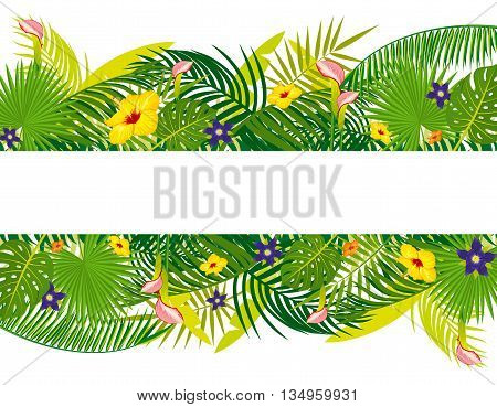 Vector empty banner with tropical floral foliage. Exotic floral leaf and flower. Summer tropical leaf of palm illustration