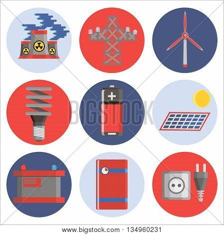 Energy generating and storing systems with high power sustainable batteries. Flat icons set abstract isolated vector illustration